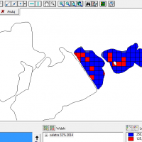 3/3 mapa aplikacji drugiej z trzech dawek saletry, wygenerowana na podstawie skanu glebowego w programie Farm Works